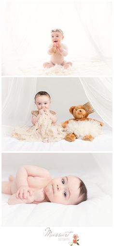 Six month studio sitter session; baby girl with teddy bear; tutu and crown; simple white backdrop | Photo by Massart Photography, RI MA CT  www.massartphotography.com; info@massartphotography.com