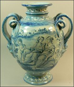 """Italian blue and white maiolica pharmacy """"vase,"""" by the Cantigalli firm of Florence."""