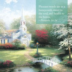 "Sunday Inspiration. ""Share the Light"" ""Hometown Chapel"" – Thomas Kinkade – 1995 #thomaskinkade #inspirationalquote #proverbs"