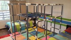 PVC pipe jungle gym, cargo net, swings