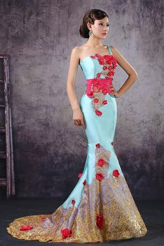Purple Evening Dress 2015 New Lady Sky Blue Satin Mermaid Strapless Sweep Train Flowers Evening Gown Wedding Dress Uder 100 Debs Dresses From Cawsky, $74.46| Dhgate.Com