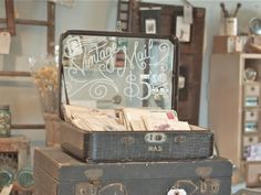 For display: use a small suitcase or train case and put mirror on the lid like this or paint the lid w/ chalkboard paint.Vintage Junky - Creating Character