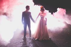 Alternative wedding photography London. Night portraits using rock n roll couple and smoke bombs. Fleming photo