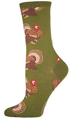 aa6f3c24f Socksmith Womens Novelty Holiday Crew Socks Turkeys - Pesto  Fun holiday  socks feature Thanksgiving turkeys on a pesto green background.