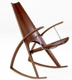L. Meher; Custom Walnut Plywood and Steel Rocker, 1978. | Furniture Design | Chair Design | Designer Chair