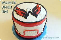 A Special Cake requested by my nephew for his fourth birthday, who happens to love the Washington Capitals. It's a triple layer cake. Hockey Birthday, Fourth Birthday, 1st Birthday Parties, Birthday Cake, Birthday Ideas, Hockey Cakes, Capitals Hockey, Cap Cake, Cupcake Pictures