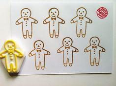 gingerbread sello hombre de goma. navidad Por mano talktothesun