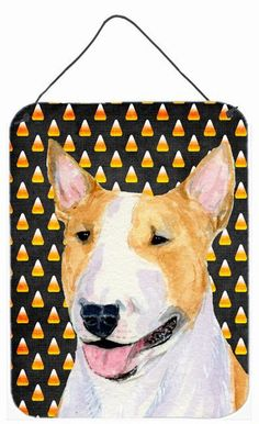 Bull Terrier Candy Corn Halloween Portrait Wall or Door Hanging Prints