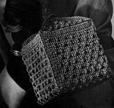 Love Letter Box Bag crochet pattern from Hiawatha Corde Bags, originally published by Heirloom Needlework Guild, Book No. 11 in 1945.