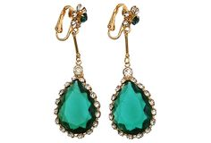 1950s Kramer Faux-Emerald Earrings on OneKingsLane.com