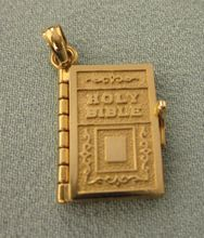 Beautiful 14K Gold Holy Bible Lord's Prayer Book Pendant or Charm..