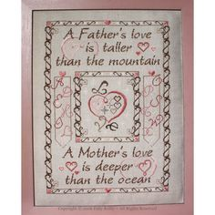 Price:£6.50     You can also place an order in a different currency. Father and Mother's Love Sampler (FML120-SMPL) Size: 189 x 260stitches Format: PDF chart (delivered by email af…