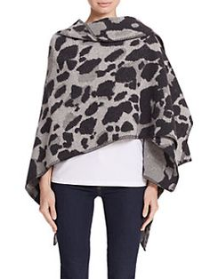 Burberry - Animal Print Wool & Cashmere Cape in black/grey or camel