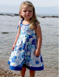 Blue Trimmed Girls Sundress