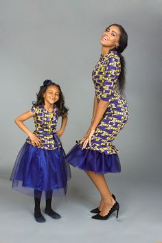 The Periwinkle Blu I Ankara Silk and Tulle Mommy Dress