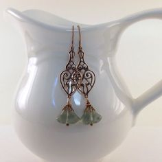 Green Tulip and Copper Filigree Earrings by CinLynnBoutique