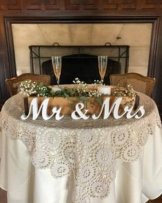 Mr & Mrs wedding table signs, centerpieces, wedding table decoration Available painted, unpainted, with distressed edges, glittered or with silver or gold dust on the front of the letters. The sign is cut from 3/4 plywood and will arrive on 3 elements: Mr & Mrs --- --- --- --- -- --- -- ---