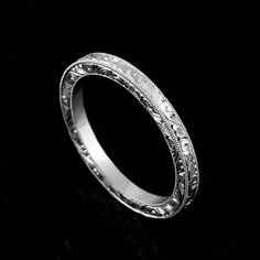 deco products platinum retro ring wedding etched bands style engraved vintage band art