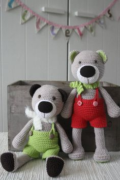 This is a DOWNLOADABLE PATTERN. Written in English using US terminology. This is Theodor the teddy bear. He is wearing removable crochet pants and scarf. Make clothes in lots of different colors for making the play even more fun. The pattern is constracted so that you can make the bear