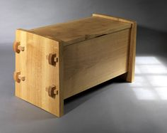Oak Blanket chest with wedges and pegs inspired by a traditional 'knock down' African chest - designed by Sam Chinnery, seen at Clerkenwell design week, may 2012