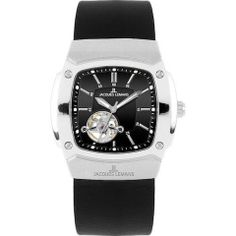 Jacques Lemans 1-1499A Men's Automatic Watch Black Leather See-Thru Case Back