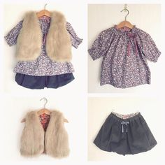 """I made 3/4 sleeve tunic with Liberty print """"Alice Victoria"""" size 2y and coordinated with the fur and bloomers that I made before. ......... ......... ......... ......... ......... ......... ......... ......... C&S限定カラーのリバティ「アリスビクトリア」で7分丈袖のギャザースモックを90cmで作りました。 昨日のベストと以前作ったバルーンパンツと合わせました。"""