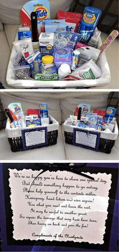 Bathroom basket with cute poem- wedding