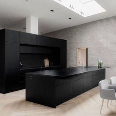 A Secret Weapon For A Matte Black Kitchen Makes A Bold Statement 20 - homesu. A Secret Weapon For A Matte Black Kitchen Makes A Bold Statement 20 - homesuka Kitchen Room Design, Modern Kitchen Design, Interior Design Kitchen, Elegant Kitchens, Black Kitchens, Cool Kitchens, Black Kitchen Island, Minimal Kitchen, Cuisines Design
