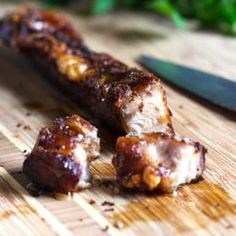 Honey Glazed Crispy Pork Belly Roasted and crunchy on the outside, fork tender on the inside, with a basting of honey to contrast the Spanish dry rub spices. It's meat candy! Pork Belly Recipes, Meat Recipes, Cooking Recipes, Pork Belly Rub Recipe, Dinner Recipes, Cooking Pork, Smoker Recipes, Quick Recipes, Healthy Recipes