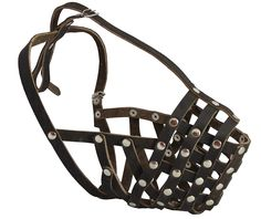 Secure Leather Mesh Basket Dog Muzzle - Rottweiler Male(Circumference 14.5', Snout Length 3.5') ** See this great image  : Dog muzzle