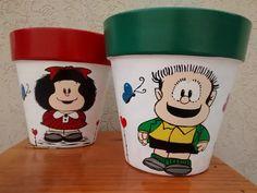 macetas pintadas a mano n°20 Painted Plant Pots, Painted Flower Pots, Pottery Painting Designs, Paint Designs, Summer Painting, Terracotta Pots, Clay Pots, Potted Plants, Vase
