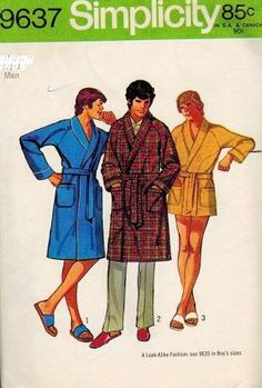 Simplicity 9637 Sewing Pattern Vintage 1971 Men's XL Wrap Belted Shawl Collar Raglan Sleeve Robes in Three Lengths by Simplicity patterns http://www.amazon.com/dp/B00G61EHOC/ref=cm_sw_r_pi_dp_JW7Jtb012ERN4H4B