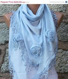 BIG SALE Sky Blue Scarf  Pure Cotton   Cowl by fatwoman on Etsy, $23.00