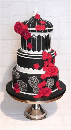 Bold black, white and red wedding cake (Best Wedding and Engagement Rings at http://www.brilliance.com)