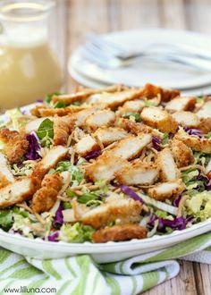 Copycat version of Applebee's Oriental Chicken Salad - one of the best salad recipes! { lilluna.com }