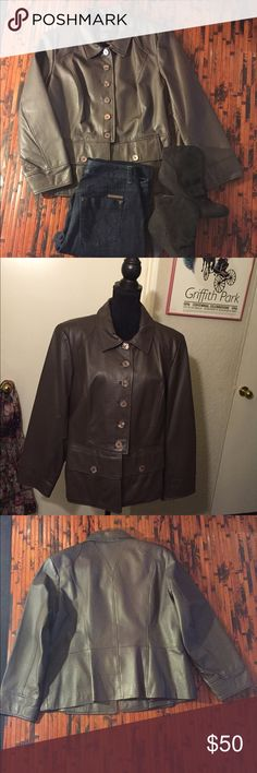 Terry Ellis Leather Jacket Brown, lightly used, has two lower pockets, very warm and comfortable, in very good condition. Terry Ellis Jackets & Coats