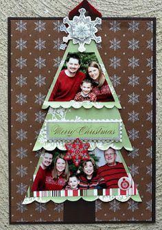 handmade Christmas card ... Ideas for Scrapbookers: Christmas Tree Templates ... family photos cut to fit in tiers of a tree ... cute!