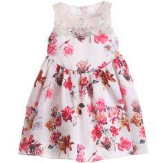 White & Pink Floral Satin Dress, David Charles, Girl