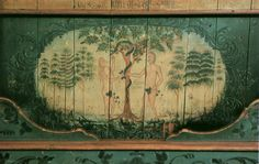 Rosemaling of Adam and Eve. Norway