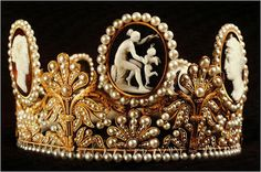 The Cameo Tiara: Created around 1809 for Empress Josephine as a gift from Napoleon. It is now part of the Swedish royal collection and it has become the family's tradition to use it as wedding tiara.