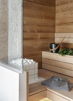 Nuoska integrated sauna heater by Tulikivi at Asuntomessut 2013.