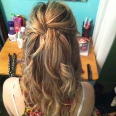 Curly half up do