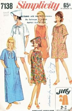 Simplicity Pattern 7138 Vintage 60's Easy Robe or Dress in Three Lengths + Hat! Complete Size 10-12