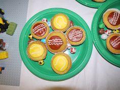 Tennis and cricket ball fairy cakes