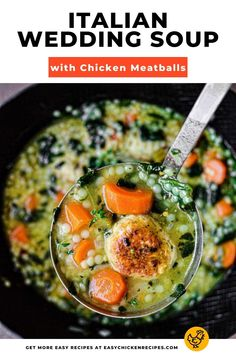 If you a looking for a tasty and hearty soup, then you have just found the recipe for you! Made with chicken meatballs, acini di pepe pasta and more, this nutritious and tasty bowl is best served with crusty bread! #weddingsoup #chickensoup #chickenmeatballs Kid Friendly Chicken Recipes, Italian Chicken Recipes, Yummy Chicken Recipes, Chicken Potato Soup, Easy Chicken And Rice, Chicken Meatballs, Italian Meatballs, Wedding Soup, Spoon