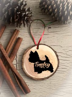 Personalized Yorkipoo Dog Breed Christmas Ornament, Rustic Ornament, Dog Ornament, Custom Made, Wood Slice
