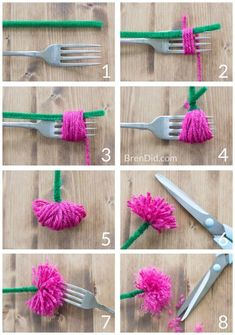 How to make tassel flower crowns - Make an easy DIY tassel flowers crown with yarn and pipe cleaners to delight someone you love. Perfect for weddings. Mandy How to make tassel flower crowns - Make an easy DIY tassel flowers crown with yarn and Diy Flower Crown, Diy Crown, Diy Flowers, Fabric Flowers, Paper Flowers, Pom Pom Flowers, Flower Wreaths, Flowers Garden, Shade Flowers