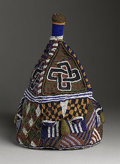 century Materials: textile, paper and glass beads. African Crown, African Hats, African Life, Yoruba People, Art Africain, Native Beadwork, Textiles, Tiaras And Crowns, Native Art