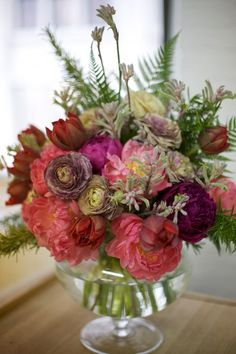 { All of my favorites! Tulips, ranunculus, Kansas peonies, rosemary and fern - By Sarah from Blossom & Branch via Design*Sponge }
