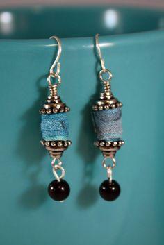 Fabric Bead Earrings - rolled fabric. . .seed idea